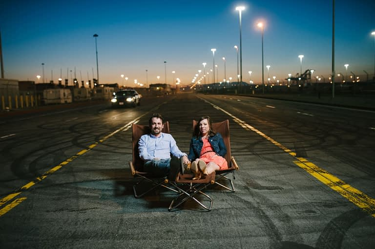 Couple at port of oakland engagement