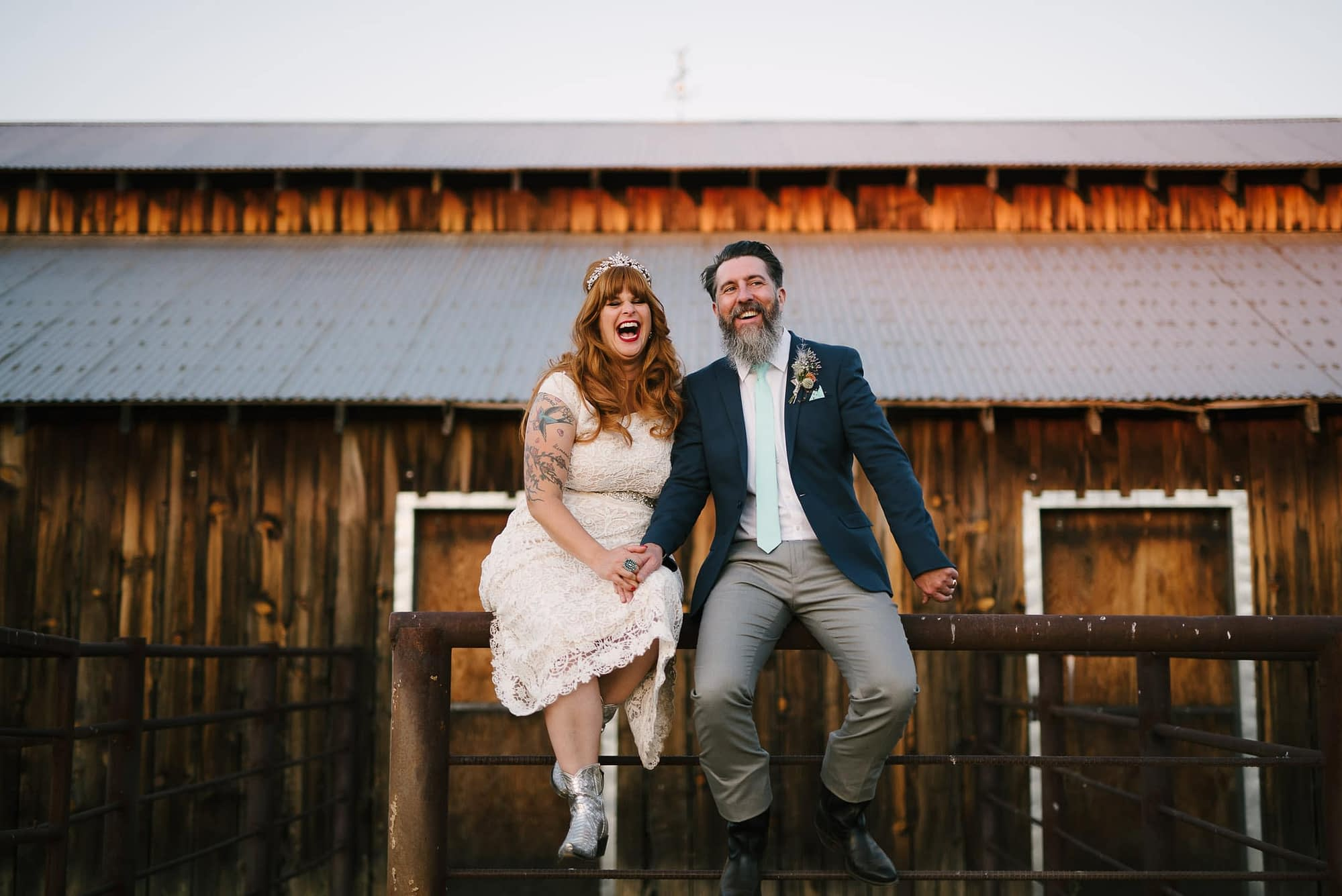 Couple on Fence at Big Table Ranch