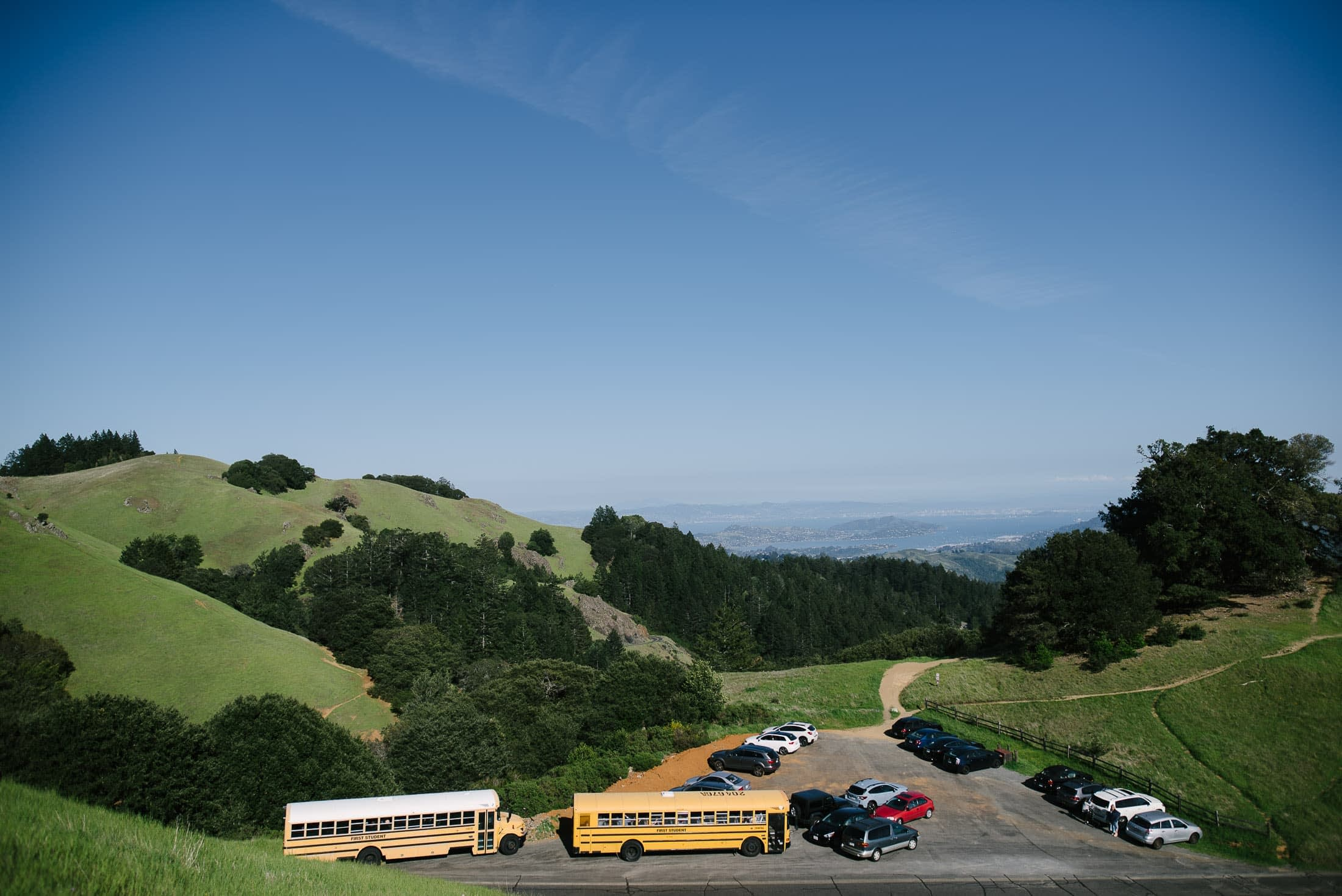 Busses delivering guests to wedding on mount tam