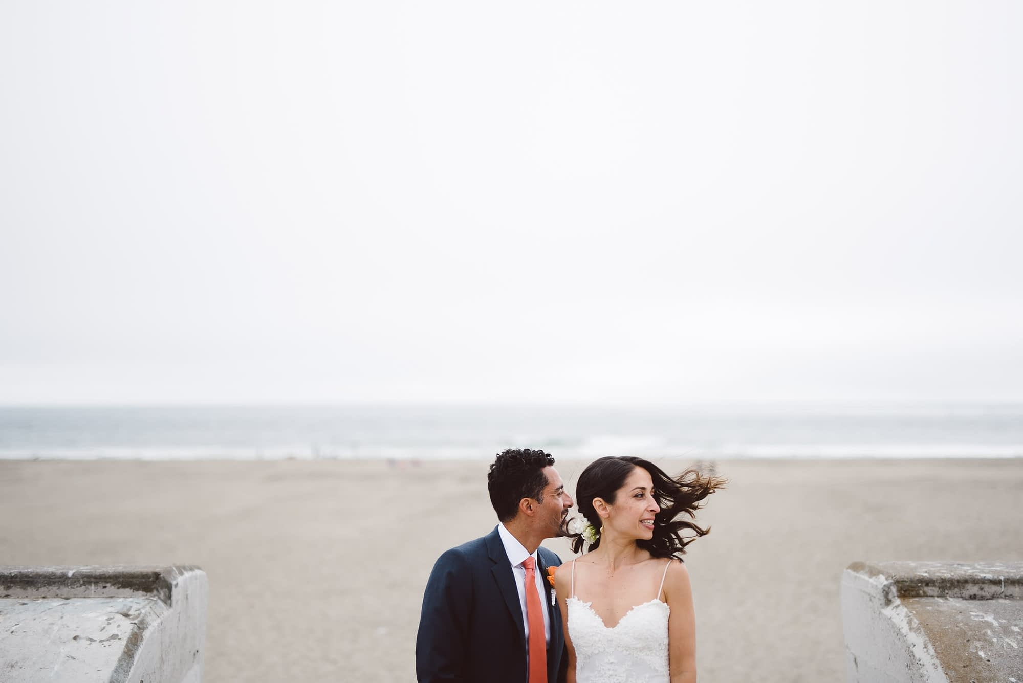 Couple at Ocean Beach wedding