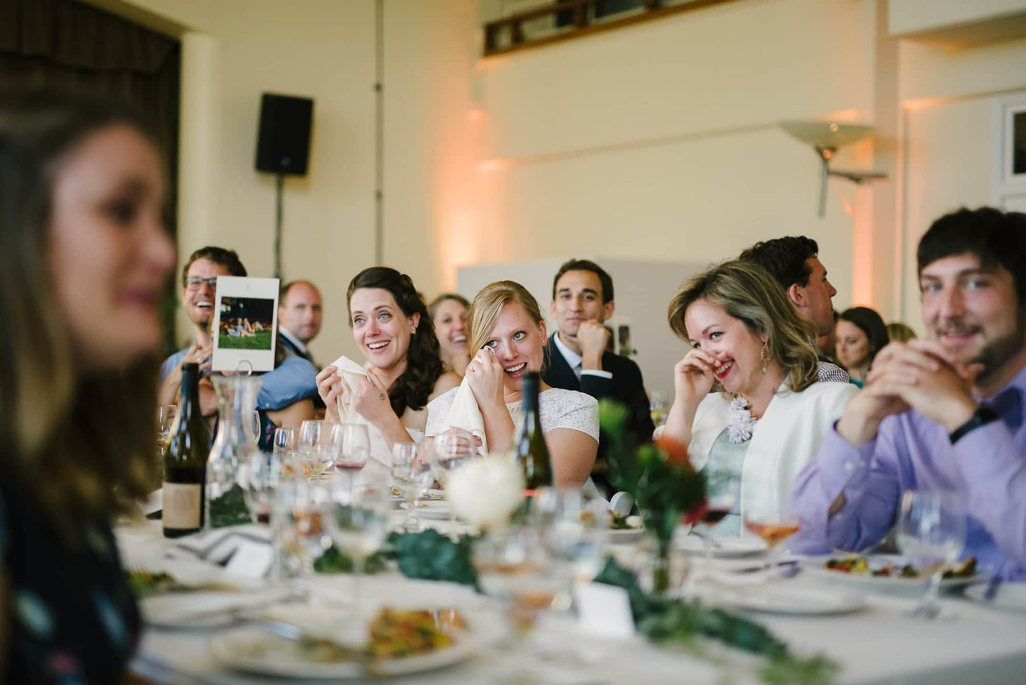 Guests crying at Golden Gate club wedding