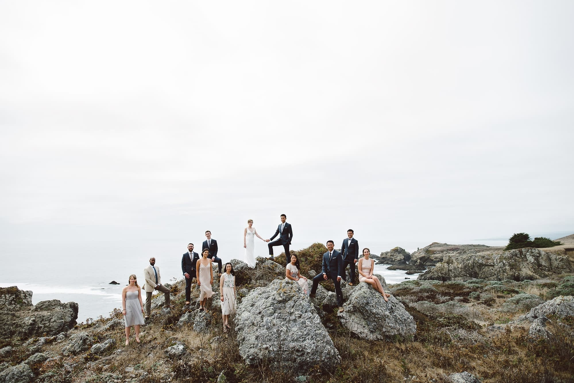 Epic Wedding Party Portrait at Sea Ranch Wedding