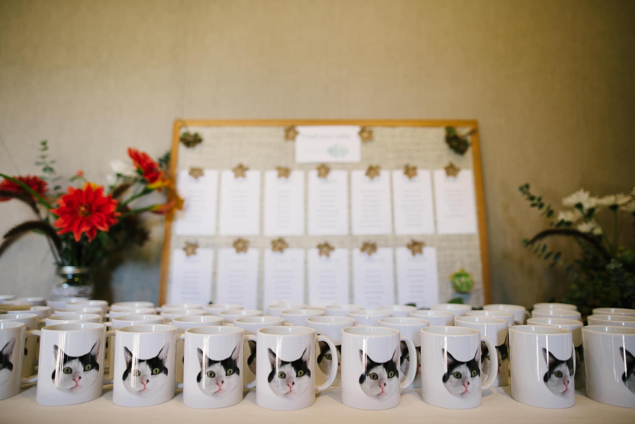 Amazing cat mugs at Brazil Room Wedding